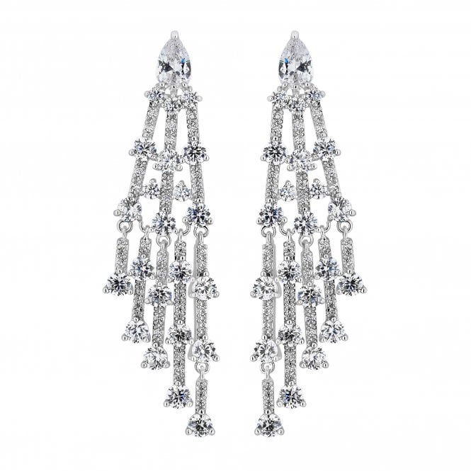 Silver Cubic Zirconia Chandelier Statement Earring