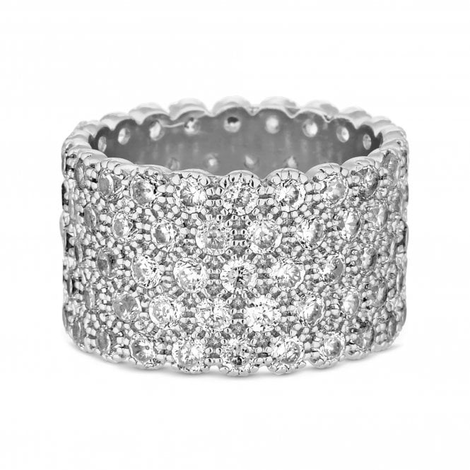 Silver Cubic Zirconia Chunky Band Ring
