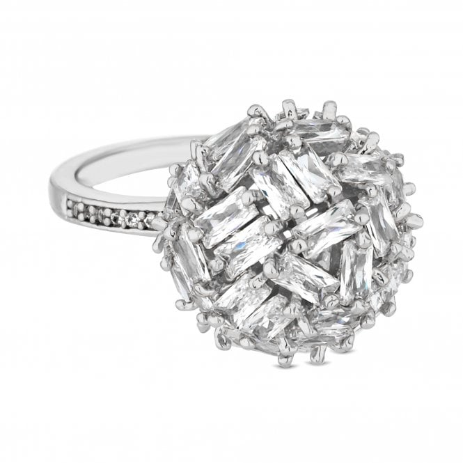 Silver Cubic Zirconia Cluster Orb Ring