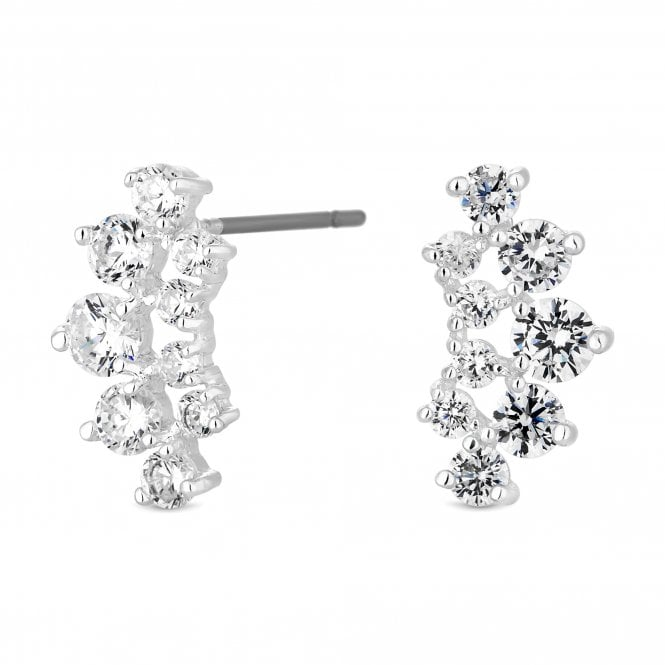 Silver Cubic Zirconia Cluster Stud Earring