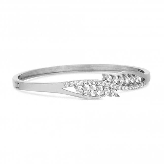 Silver Cubic Zirconia Cluster Twist Bangle