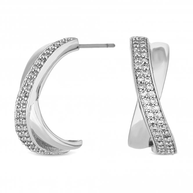 Silver Cubic Zirconia Cross Over Hoop Earring