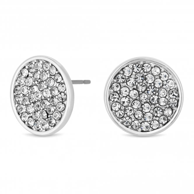 Silver Cubic Zirconia Disc Stud Earring