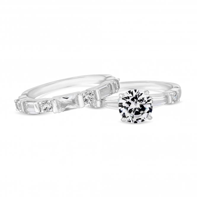 Silver Cubic Zirconia Double Stacking Ring Set