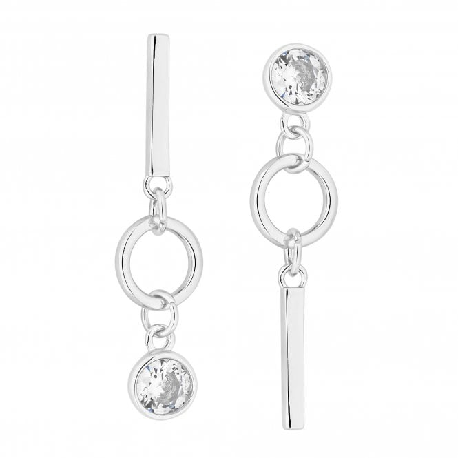 Silver Cubic Zirconia Drop Mismatched Earring Set