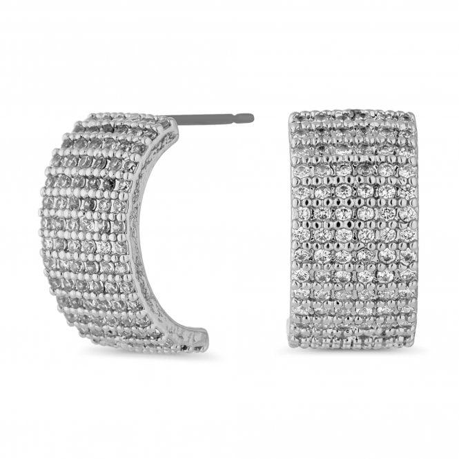 Silver Cubic Zirconia Encrusted Half Hoop Earring