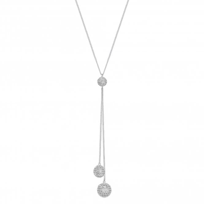 Silver Cubic Zirconia Encrusted Orb Lariat Necklace