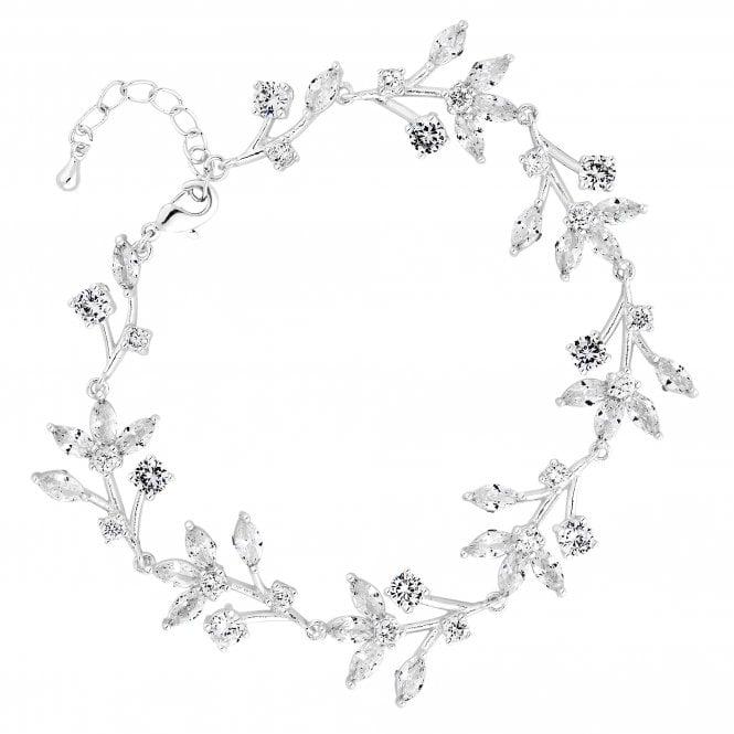 Silver Cubic Zirconia Floral Vine Statement Bracelet