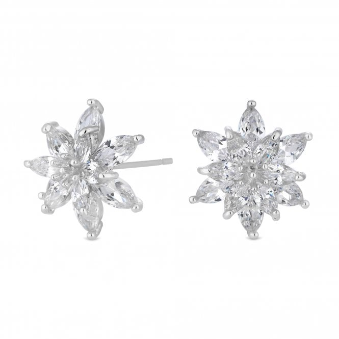 Silver Cubic Zirconia Flower Stud Earring