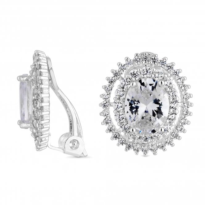 Silver Cubic Zirconia Halo Clip On Earring
