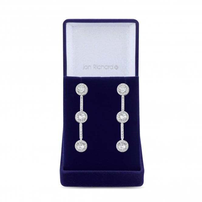 Silver Cubic Zirconia Halo Drop Earring