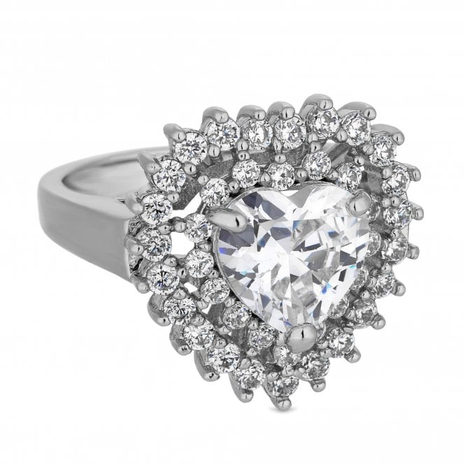 Silver Cubic Zirconia Halo Heart Ring