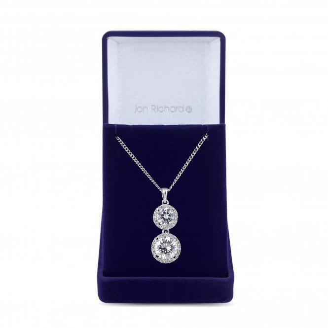 Silver Cubic Zirconia Halo Pendant Necklace
