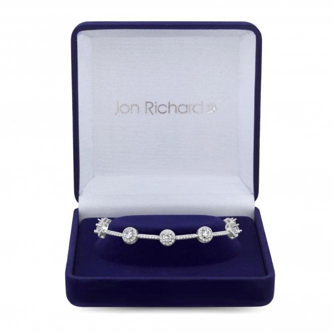 Silver Cubic Zirconia Halo Statement Bracelet