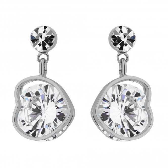 Silver Cubic Zirconia Heart Drop Earring