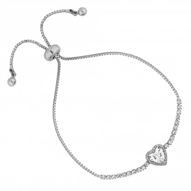 Silver Cubic Zirconia Heart Halo Toggle Bracelet