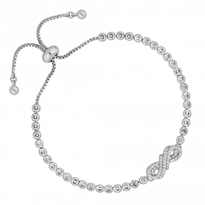 Silver Cubic Zirconia Infinity Toggle Bracelet