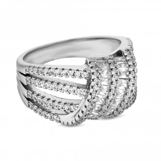 Silver Cubic Zirconia Knot Ring