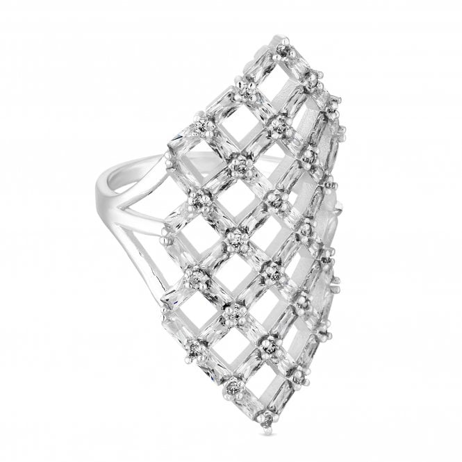 Silver Cubic Zirconia Lattice Ring