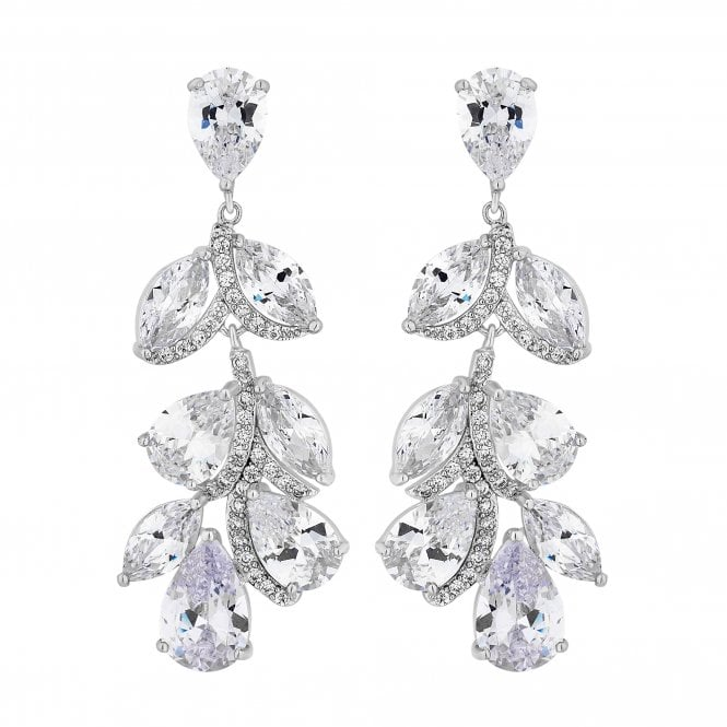 Silver Cubic Zirconia Leaf Drop Earring