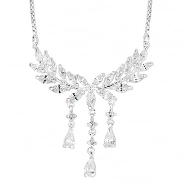 Silver cubic zirconia leaf droplet necklace