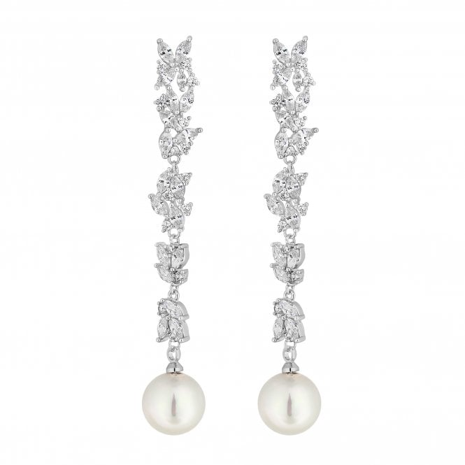 Silver Cubic Zirconia Linear Pearl Drop Earring