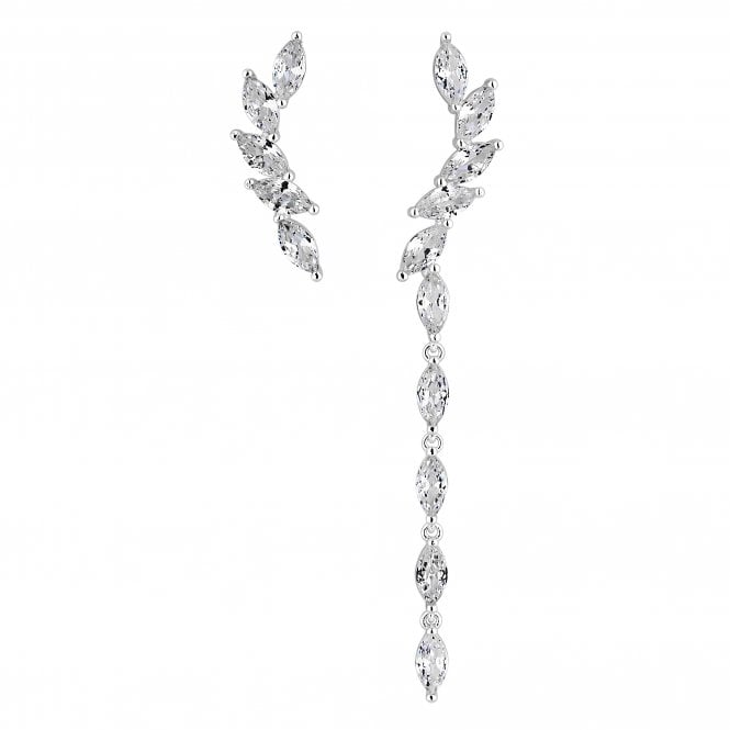 Silver Cubic Zirconia Mismatched Drop Earring