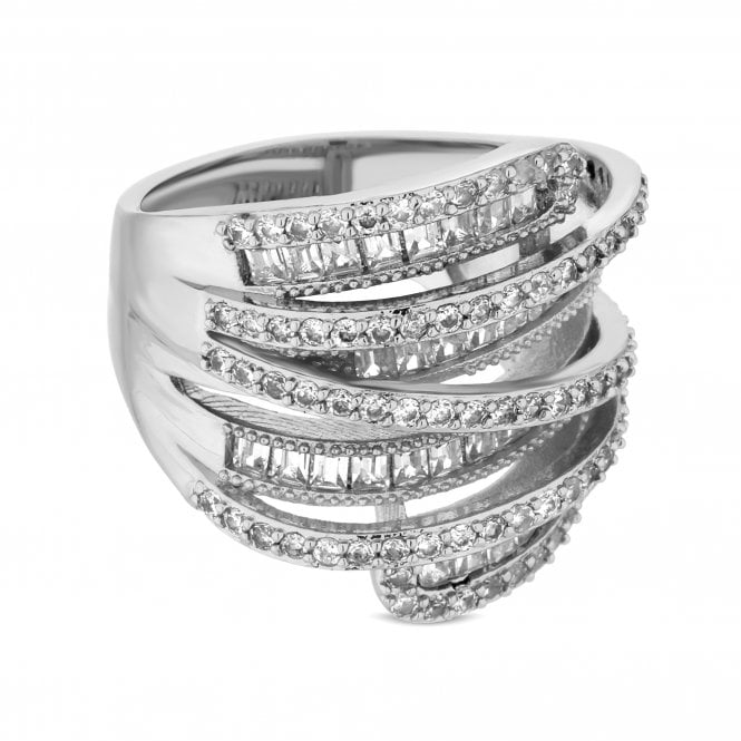 Silver Cubic Zirconia Multi Row Ring