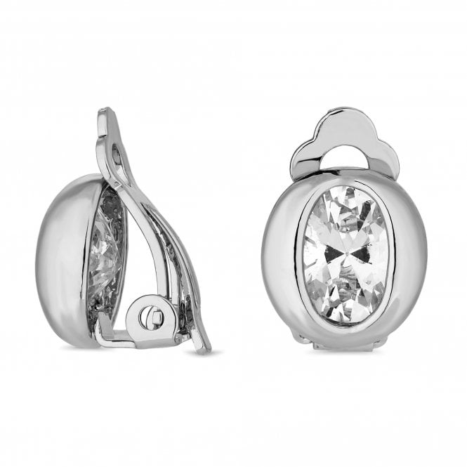 Silver Cubic Zirconia Oval Clip On Earring