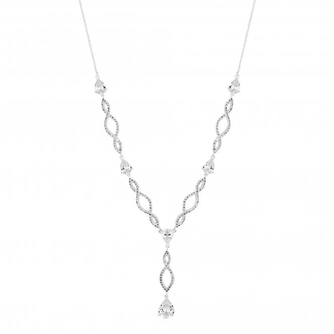 Silver Cubic Zirconia Pave Lariat Necklace