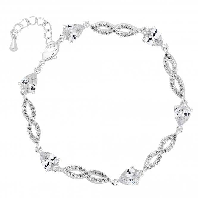 Silver Cubic Zirconia Pave Twist Bracelet