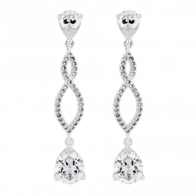 Silver Cubic Zirconia Pave Twist Drop Earring