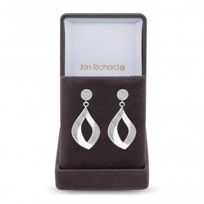 Silver Cubic Zirconia Pave Twist Drop Earring