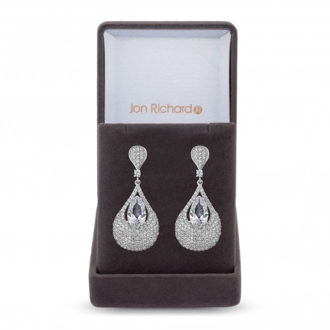 Silver Cubic Zirconia Peardrop Drop Earring