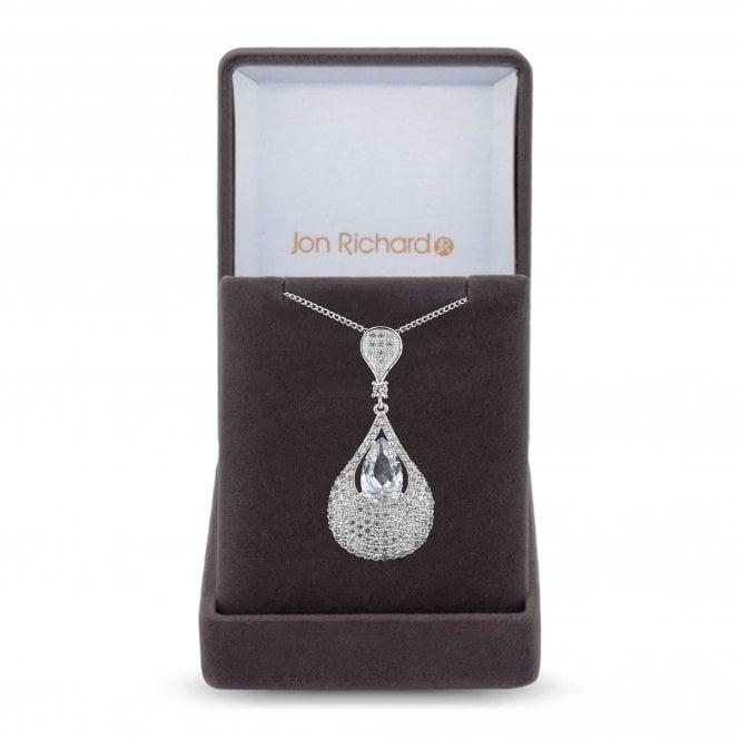 Silver Cubic Zirconia Peardrop Pendant Necklace