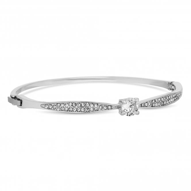Silver Cubic Zirconia Solitaire Bangle