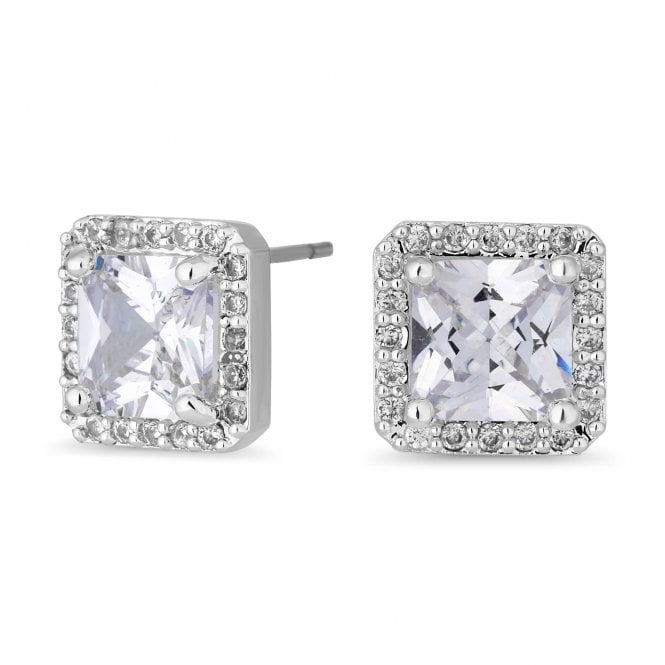 Silver Cubic Zirconia Square Halo Stud Earring