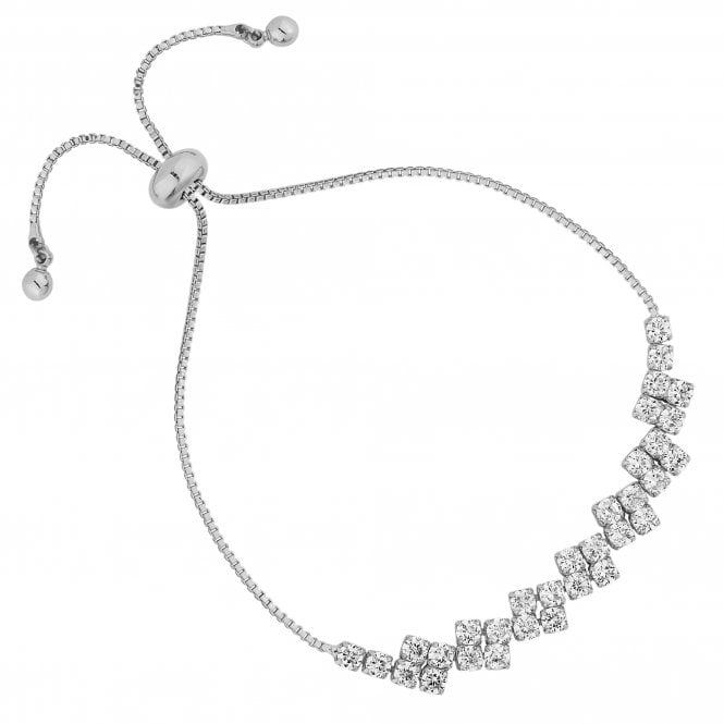 Silver Cubic Zirconia Square Toggle Bracelet