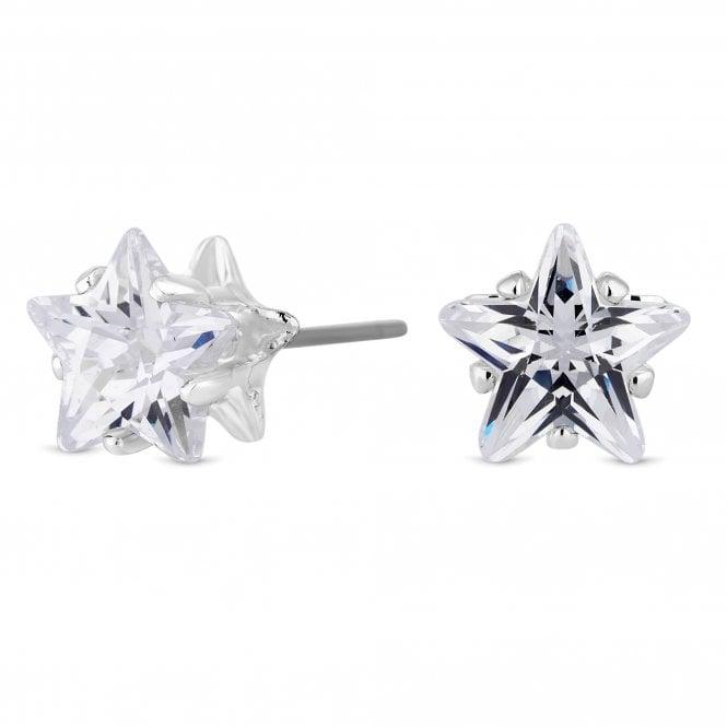 Silver Cubic Zirconia Star Stud Earring