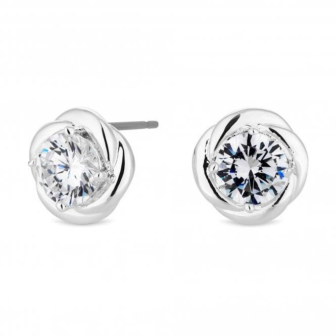 Silver Cubic Zirconia Swirl Stud Earring