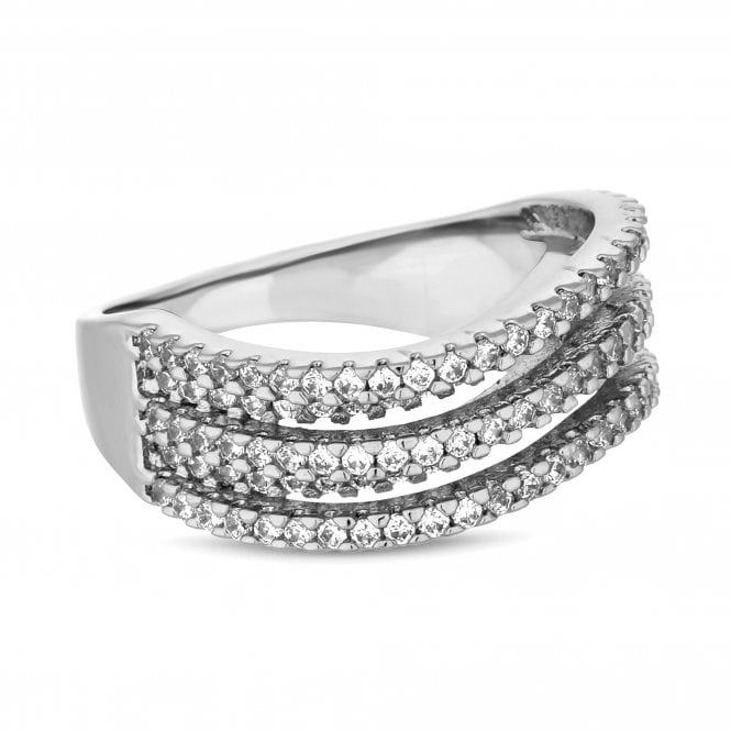 Silver Cubic Zirconia Wave Ring