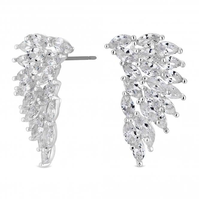 Silver Cubic Zirconia Wing Drop Earring