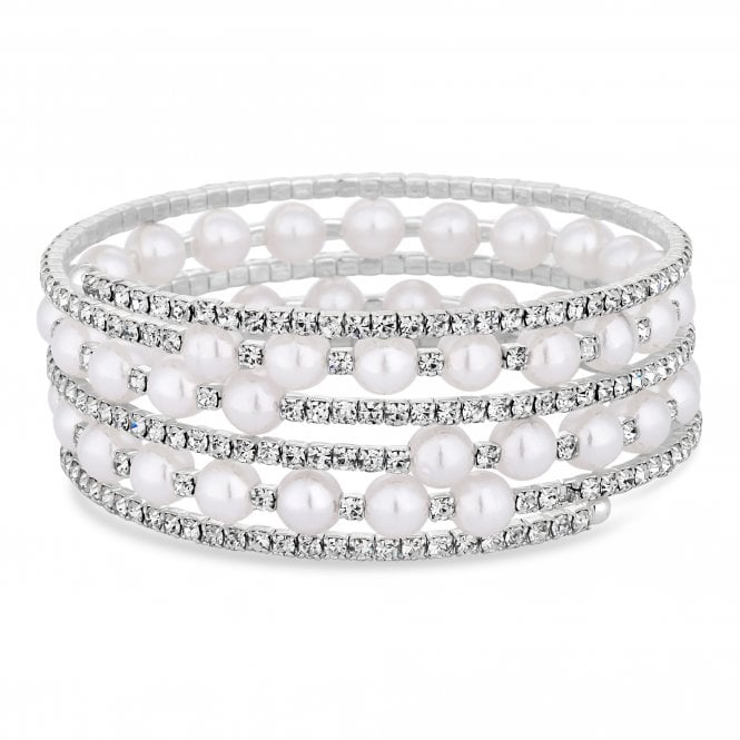 Silver Diamante And Pearl Cuff Bracelet