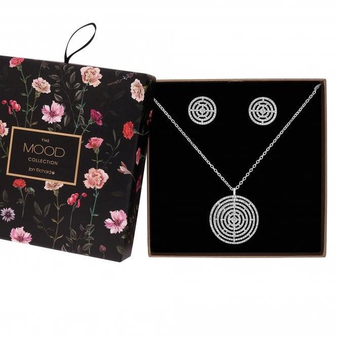 Silver Diamante Circle Jewellery Set