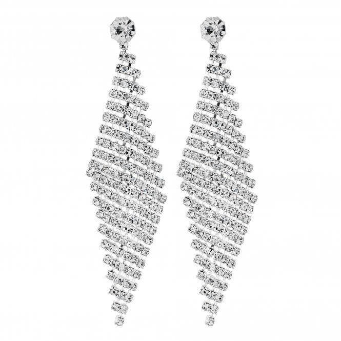 Silver Diamante Curve Drop Statement Earring