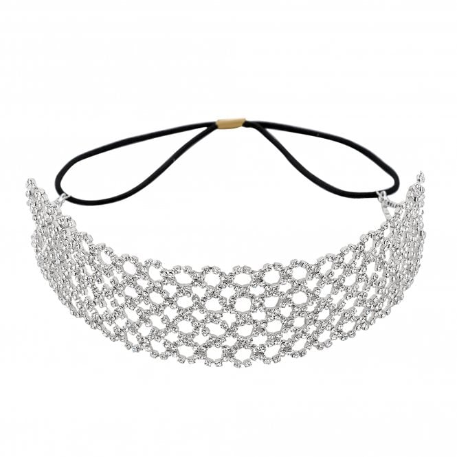 Silver Diamante Filigree Stretch Headband