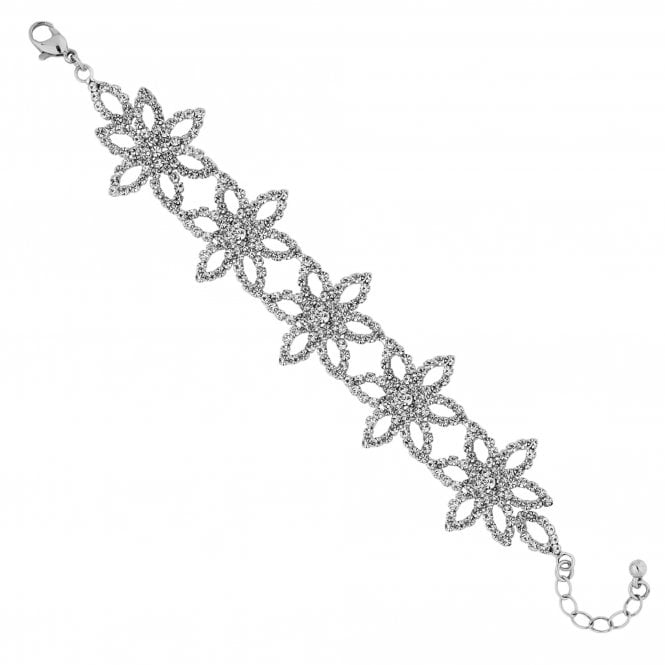 Silver Diamante Flower Statement Bracelet