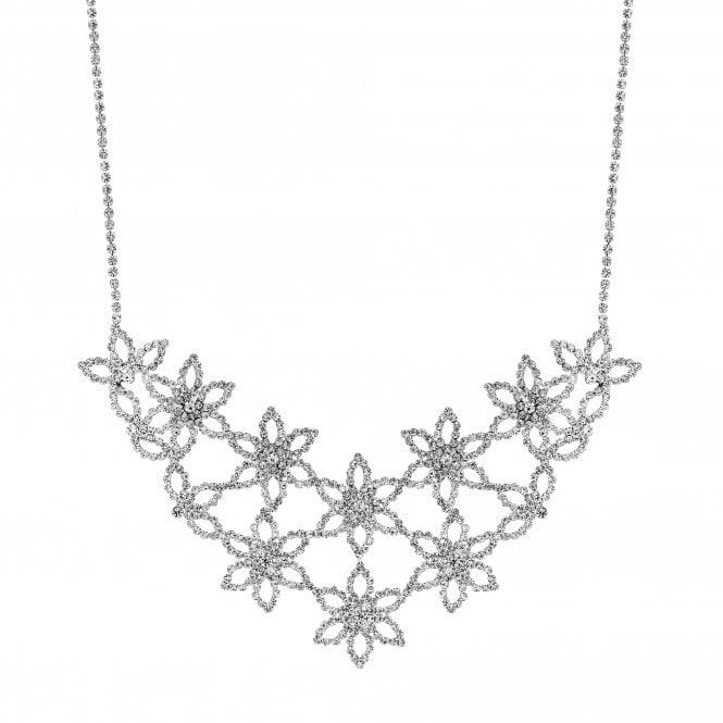 Silver Diamante Flower Statement Necklace