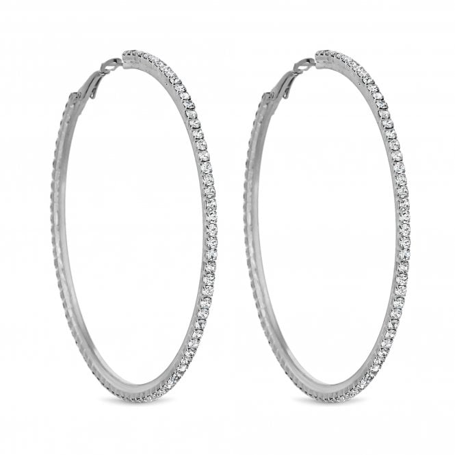 Silver Diamante Hoop Earring