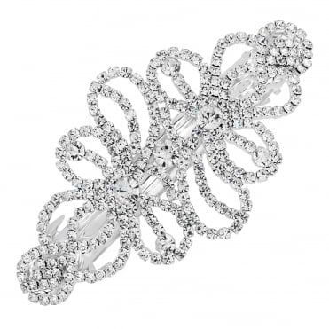 Silver diamante loop hair clip